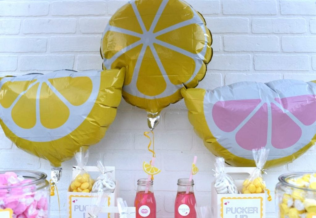 Valentine's Day party theme balloons for Pucker Up party