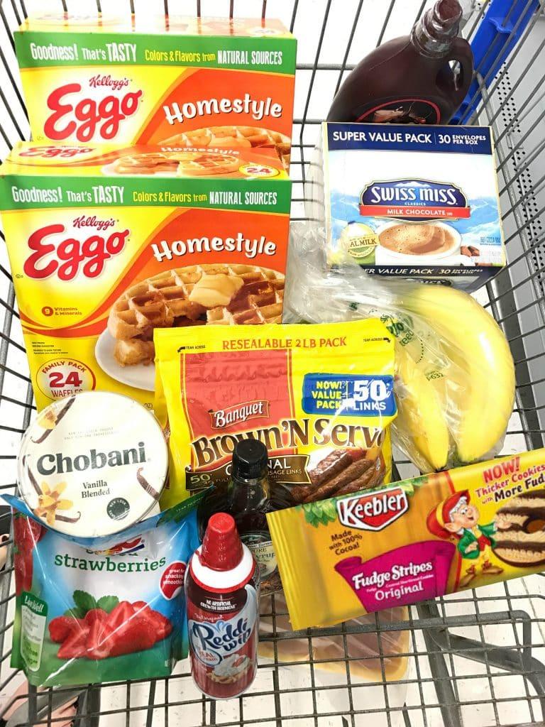 Waffle bar party ingredients at Walmart