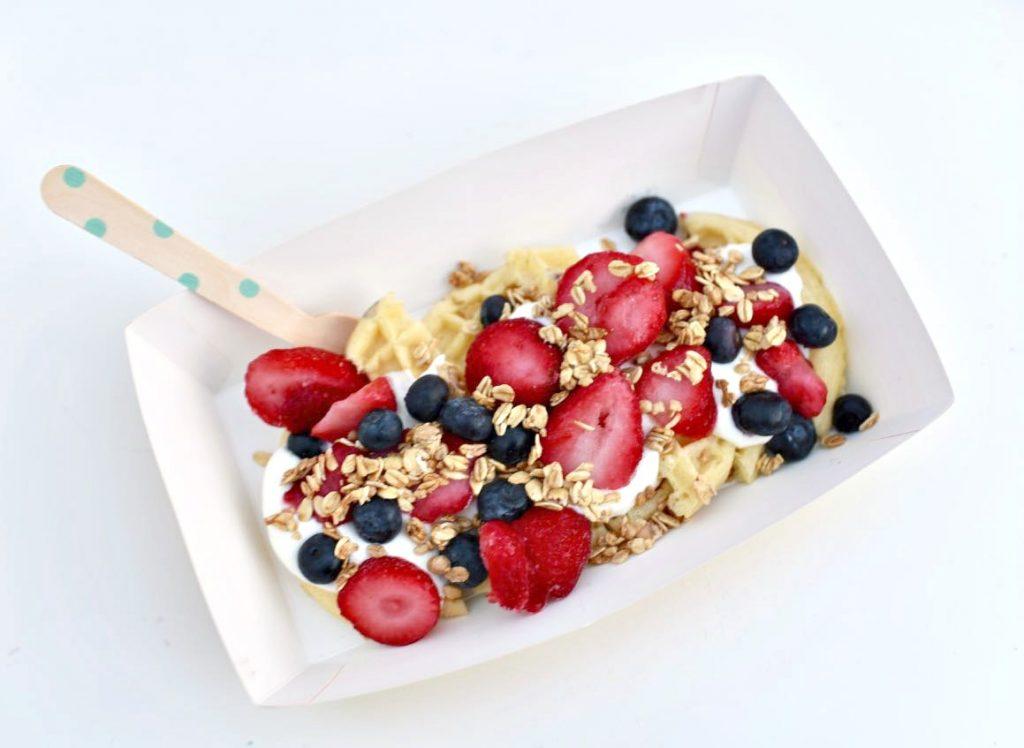 Waffle fruit and yogurt parfait