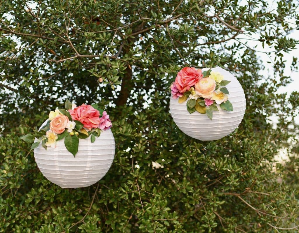 DIY flower paper lanterns for spring, parties, showers, and wedding decor.
