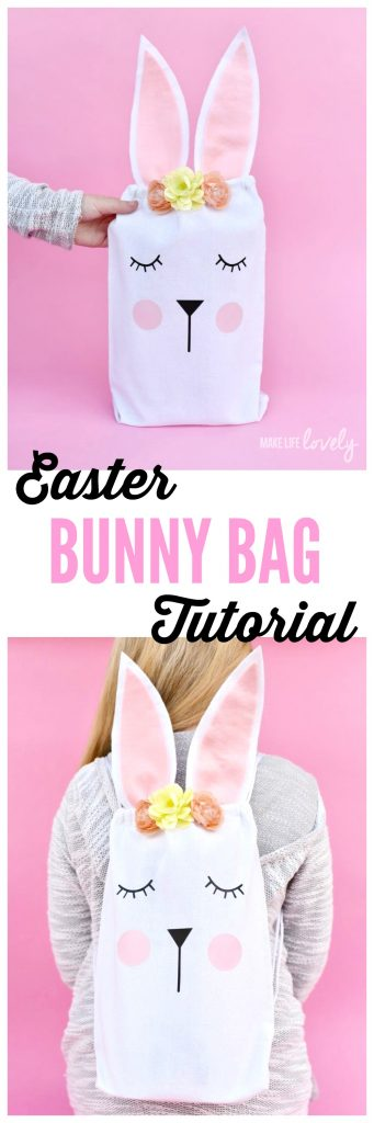 Easter bunny bag tutorial. Make this darling bunny bag for an Easter egg hunt, Easter party favor, or as a gift from the Easter Bunny!