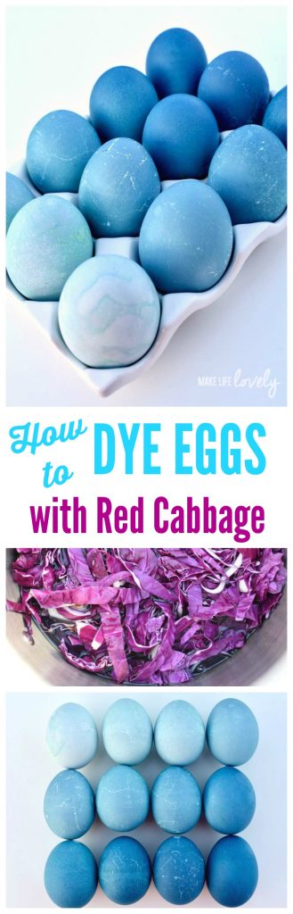 How to dye eggs with red cabbage for Easter. Red cabbage + water make a natural dye and are a great way to dye your Easter eggs naturally this year!