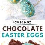 blue chocolate Easter eggs