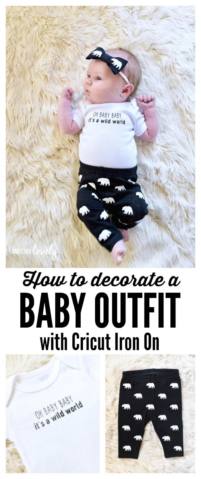 Cricut Iron On Onesie, Leggings, and Hair Bow DIY for Baby
