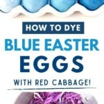 blue Easter eggs and red cabbage