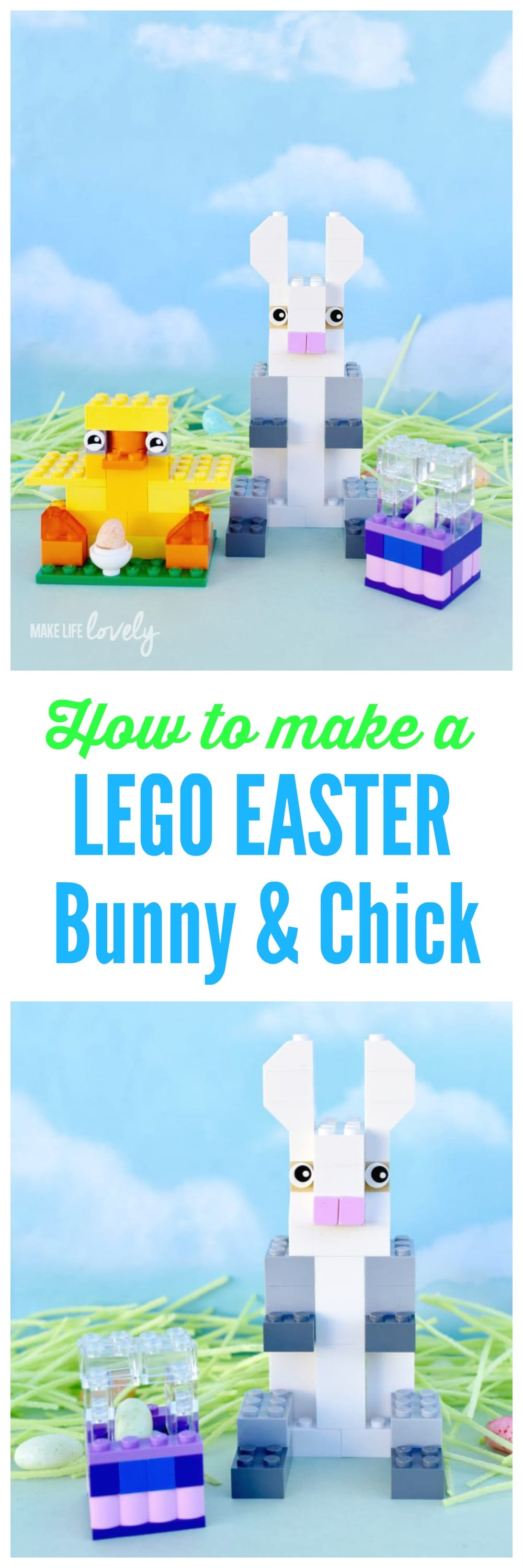 How To Make A Lego Easter Bunny, Chick, And Basket