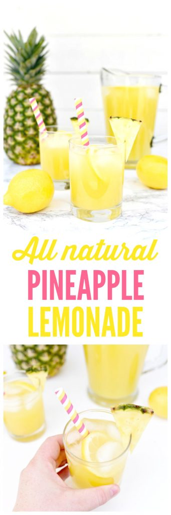 All natural pineapple lemonade recipe that's so refreshing and delicious! This pineapple lemonade drink is easy to make from fresh fruit and has no refined sugar. It's the perfect summer drink!