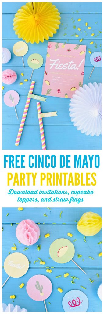 FREE Cinco de Mayo party printables! Get ready for the big fiesta with these free party printables. Print invitations, cupcake toppers, straw flags, and round labels