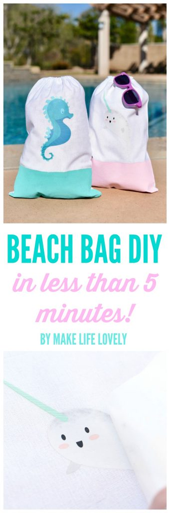 Simple beach bag DIY tutorial in less than 5 minutes! Make a cute beach bag for your trips to the beach, the pool, and so much more!