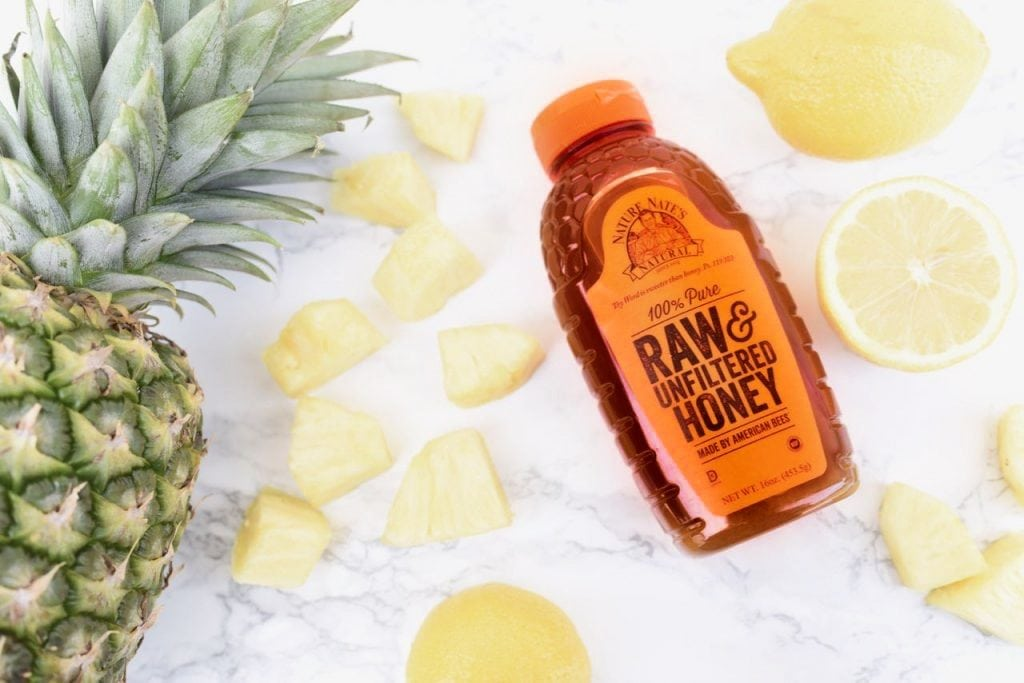 All natural pineapple lemonade recipe with fresh pineapple and honey