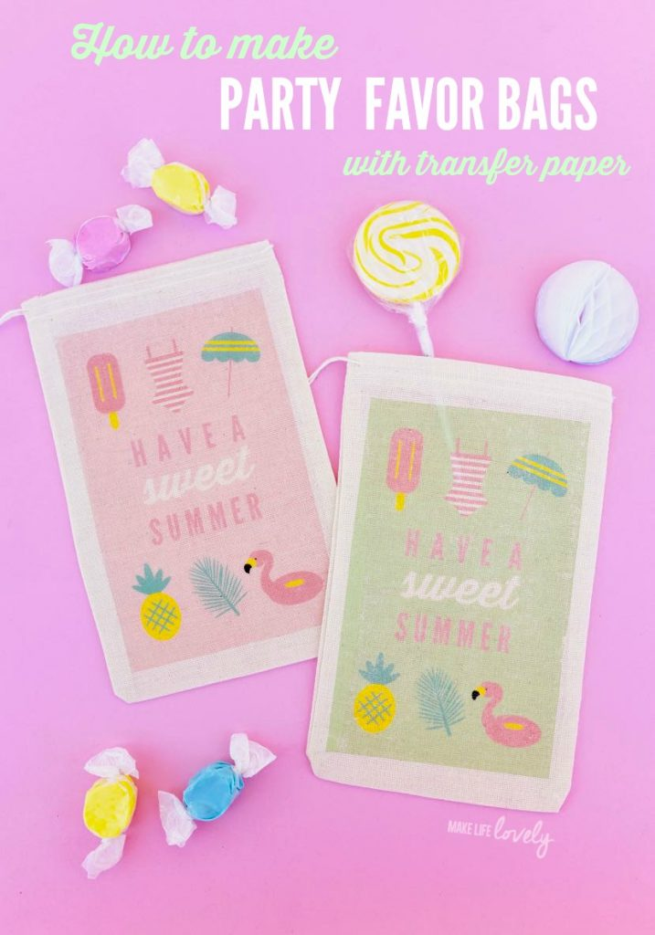 Inkjet transfer paper DIY party favor bags-