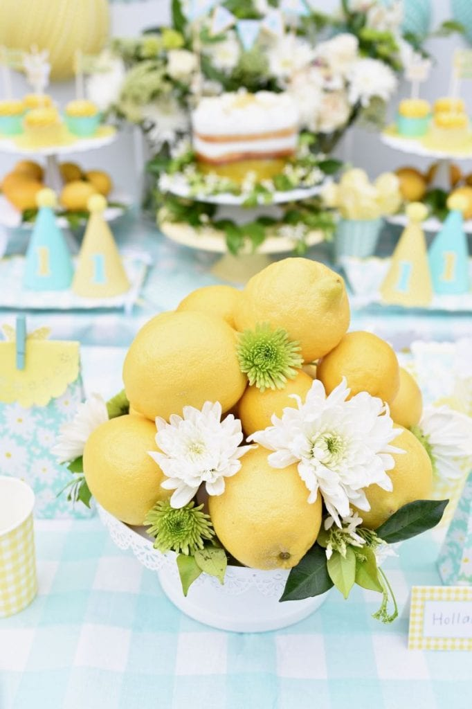 Lemon yellow birthday party outdoors for a girl