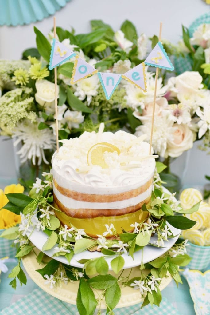 Lemon yellow birthday party with Martha Stewart Cricut diy cake topper