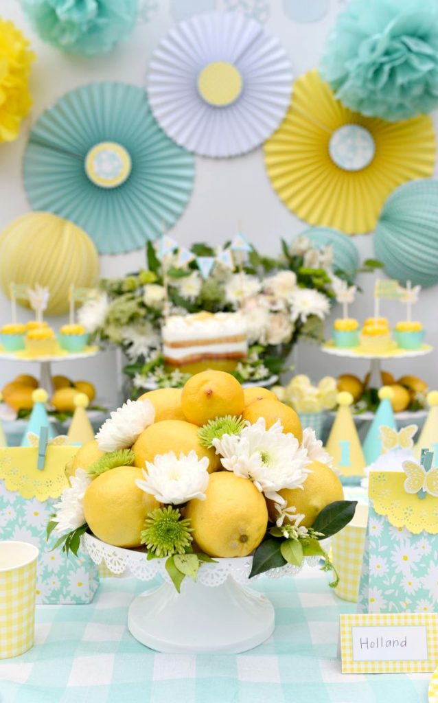 Lemon yellow birthday party with Martha Stewart Meyer Lemon Celebrations line and Cricut Explore Air 2