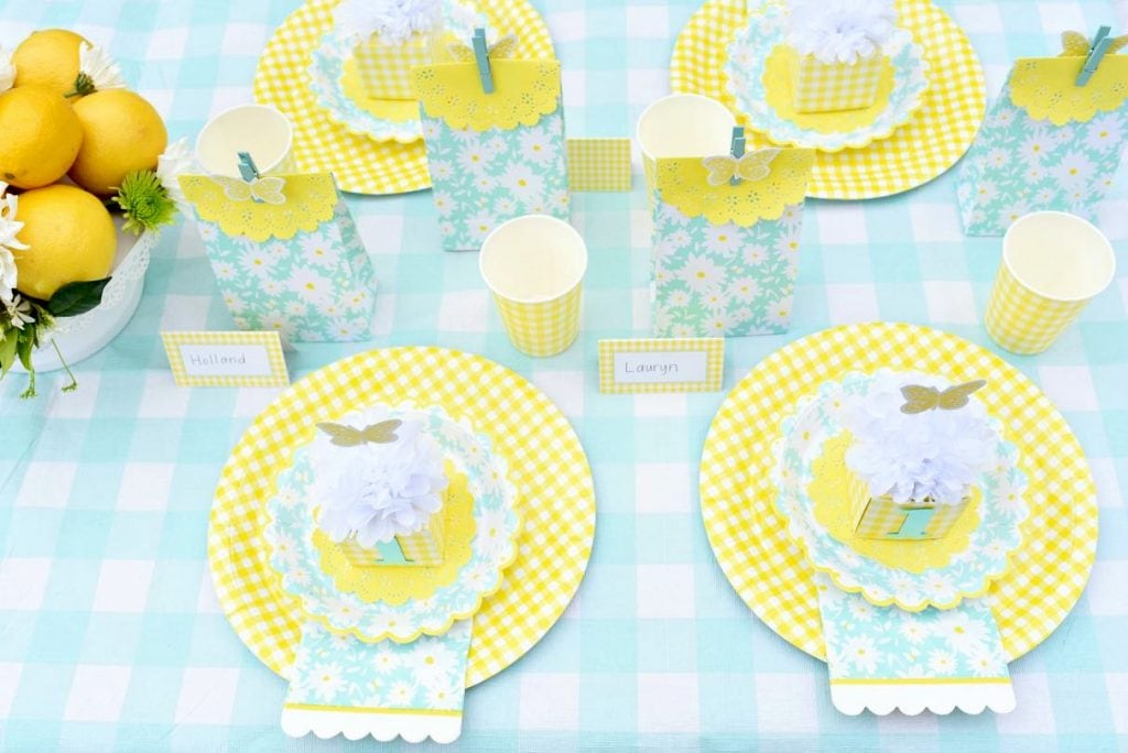 Mint and yellow birthday party for little girl with Martha Stewart Meyer Lemon party supplies and Cricut