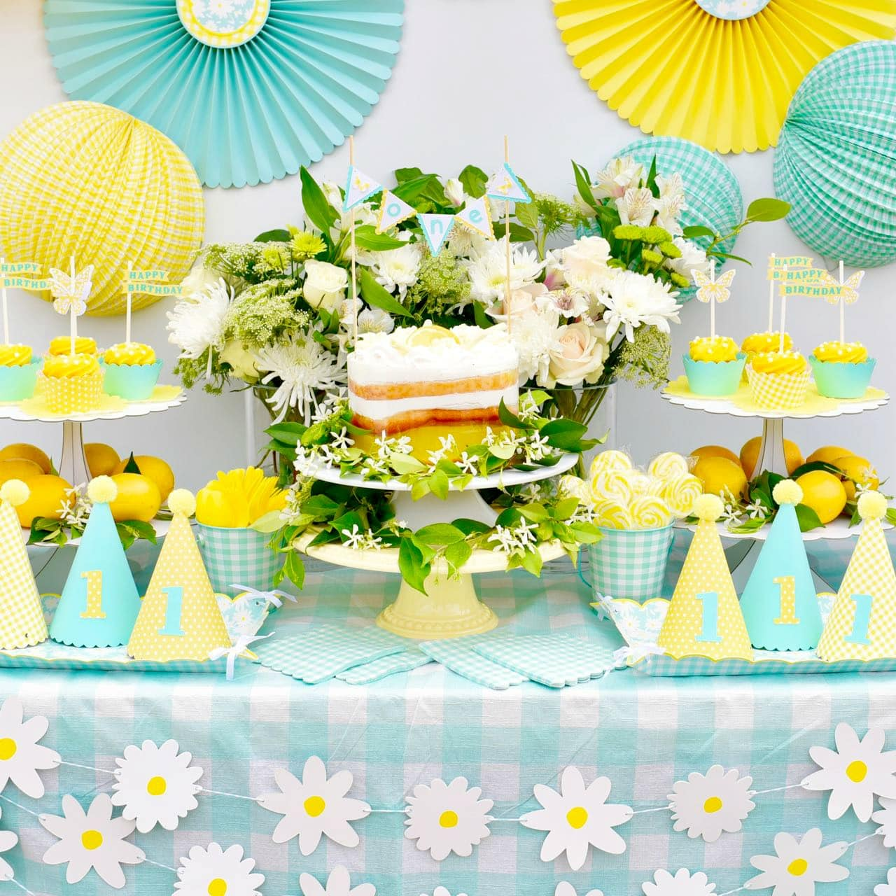 Cheery mint and yellow birthday party with cricut make life lovely outdoor garden yellow birthday party for girls first birthday using martha stewart meyer lemon celebrations izmirmasajfo