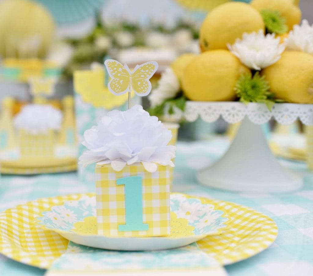 Yellow and white party with butterflies and flowers