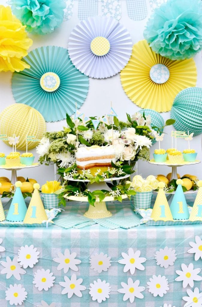 Yellow first birthday party using Martha Stewart Celebrations Meyer Lemon line at Michaels and Martha Stewart Cricut Explore Air 2
