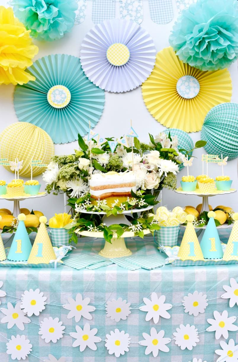 Yellow First Birthday Party Using Martha Stewart Celebrations Meyer Lemon Line At Michaels And