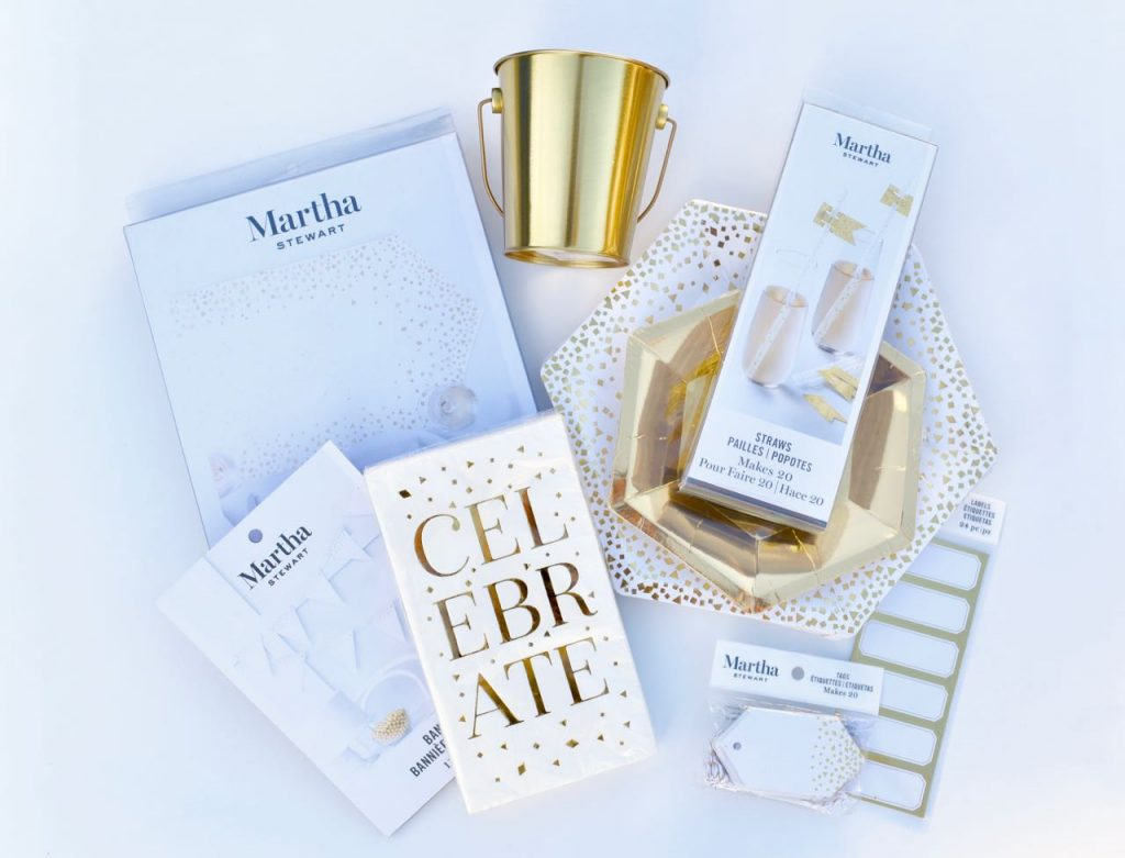 Martha Stewart Celebrations gold party supplies at Michaels