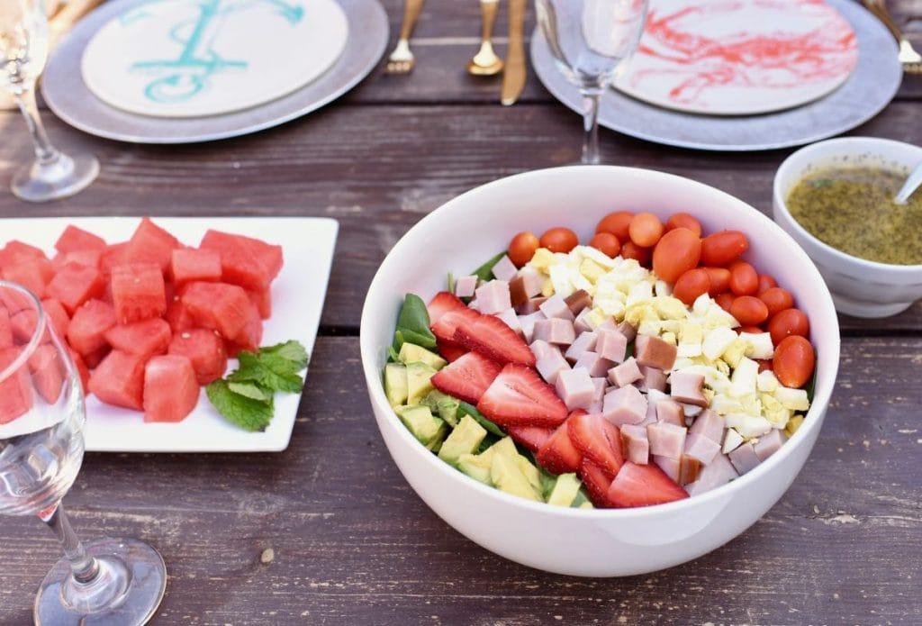 Summer cobb salad at dinner party
