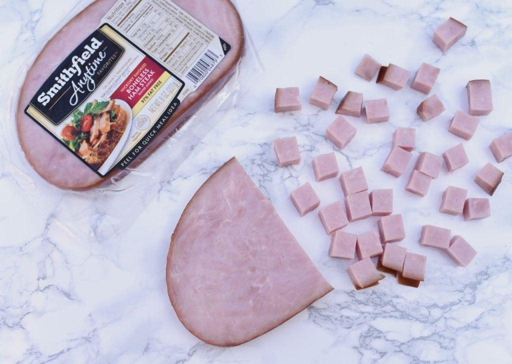 Summer cobb salad with Smithfield Anytime Favorites Ham Steak
