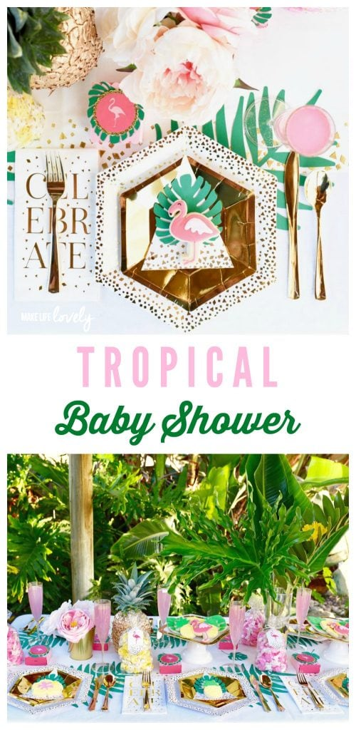 Tropical baby shower collage