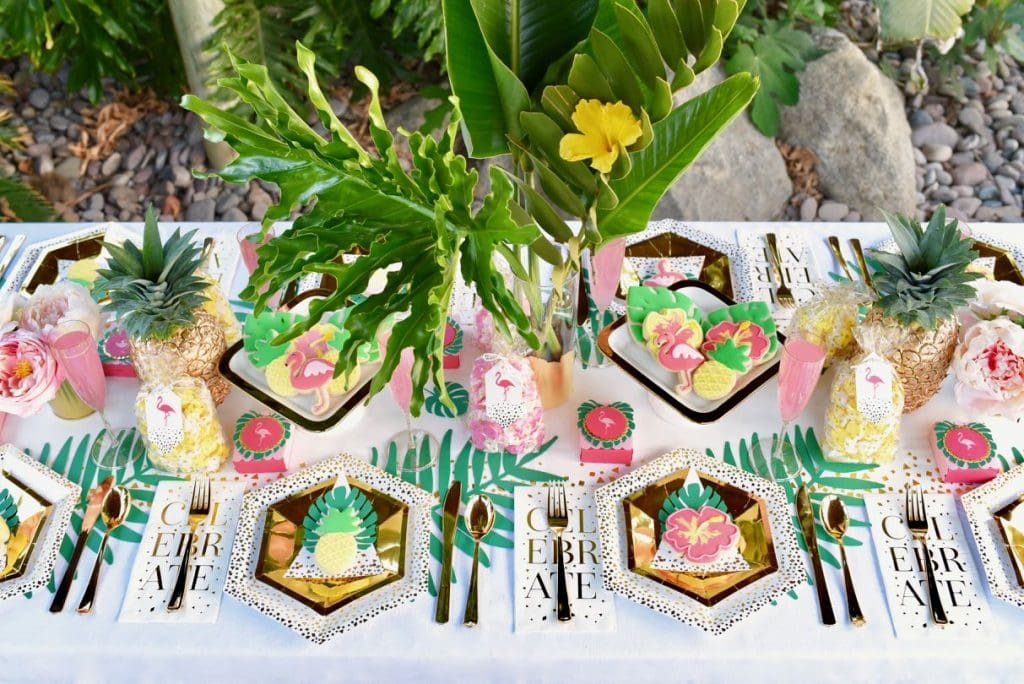 Tropical party tablescape at tropical baby shower