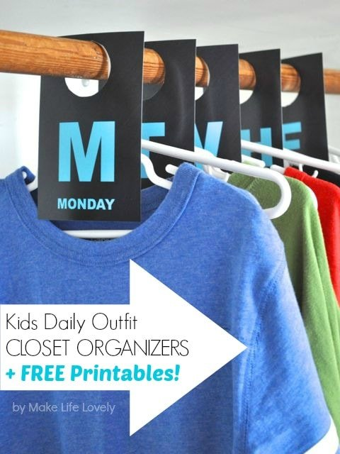 Kids Daily Outfit Closet Organizers Free Printable