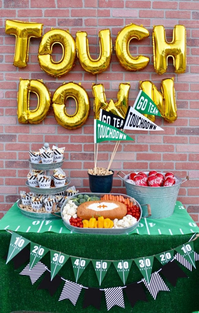 Football themed party and football party food
