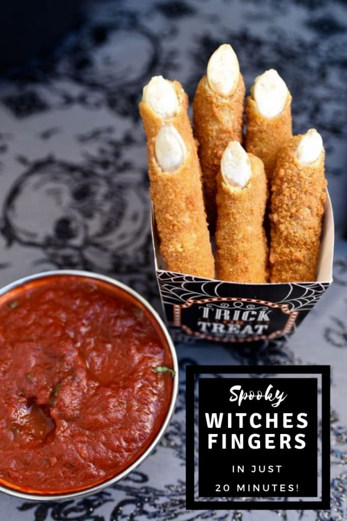 Make these tasty witches fingers in 20 minutes with just two simple ingredients! Perfect for Halloween party food, a snack, or right before trick or treating.