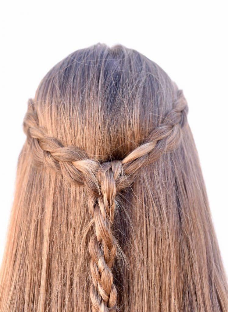 Braided half up half down tutorial for long hair