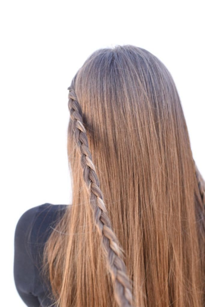 Braided long hair