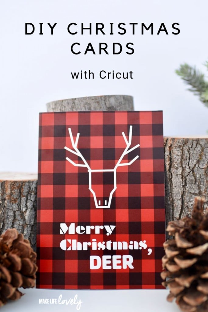 Make these darling DIY Christmas cards with Cricut! Get the FREE cut file + instructions.