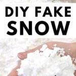 DIY fake snow in hand with Frozen toys