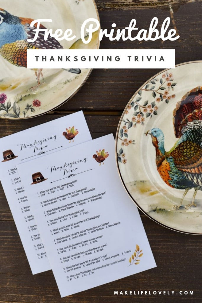 FREE printable Thanksgiving trivia game. Have some fun and learn at the Thanksgiving dinner table with this free printable Thanksgiving trivia game!