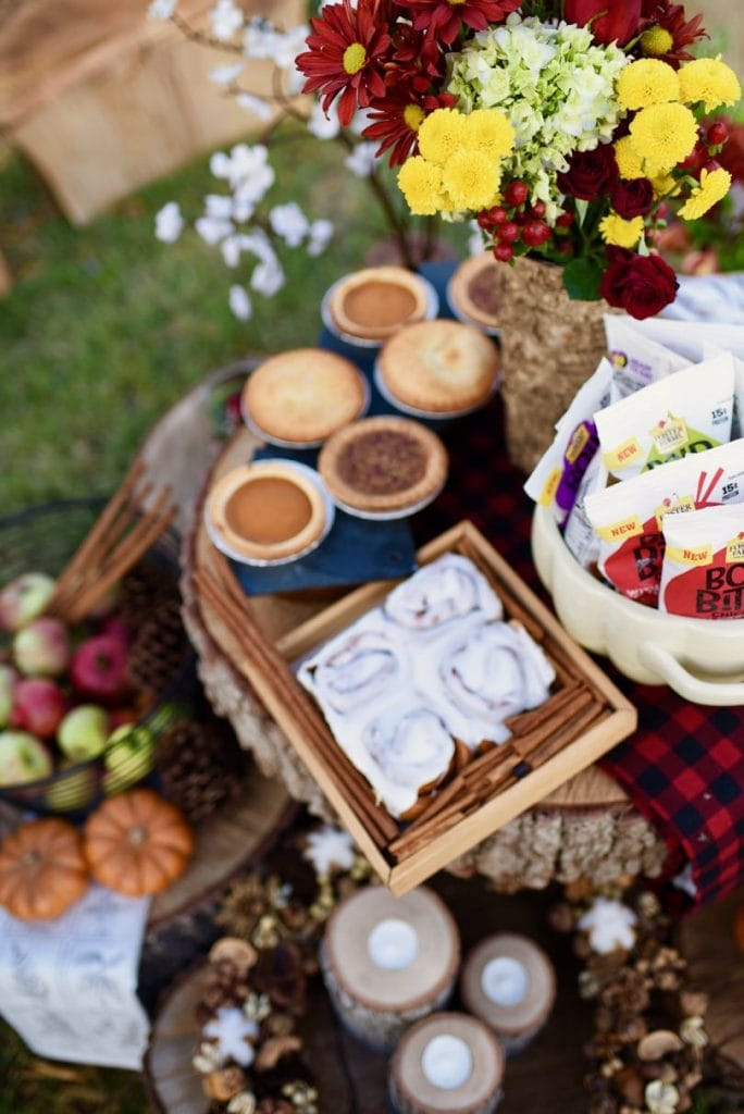 Fall picnic with fresh flowers