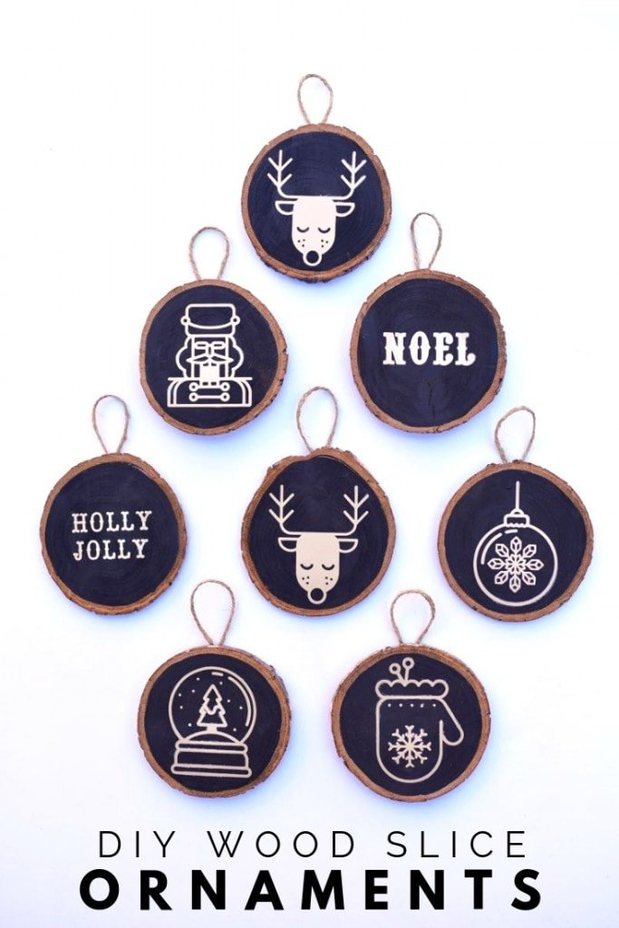 How to make wood slice ornaments with just a few supplies and a Cricut machine. So cute for the Christmas tree and to give as Christmas gifts!