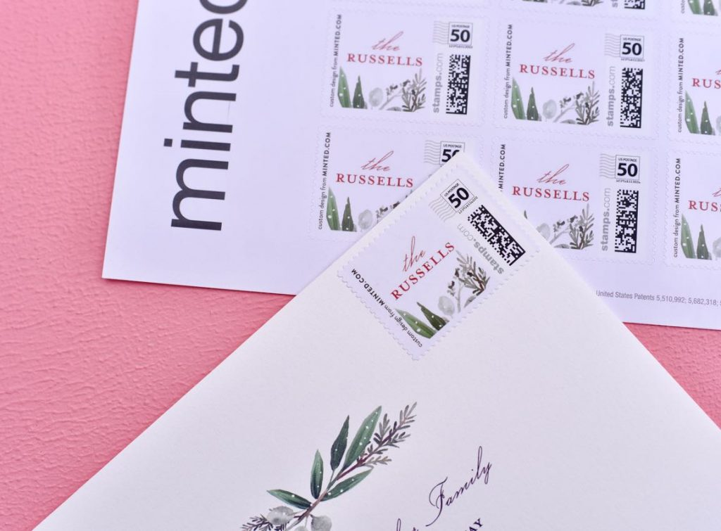 Minted holiday cards and personalized stamps