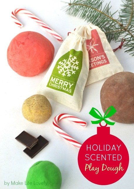 Kids love this EASY Christmas playdough that takes just minutes to make! Get recipes for chocolate mint, candy cane, egg nog, and Christmas tree play dough.