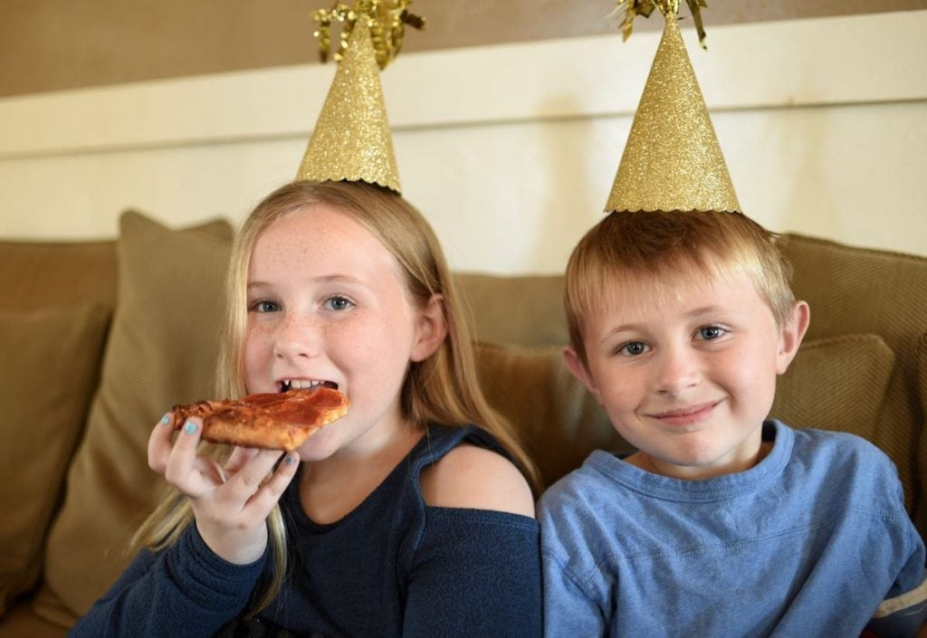 Pizza party on New Year's Eve