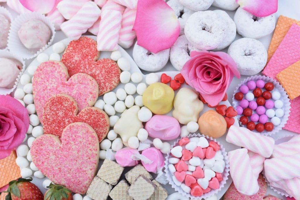 Valentines desserts on a dessert platter