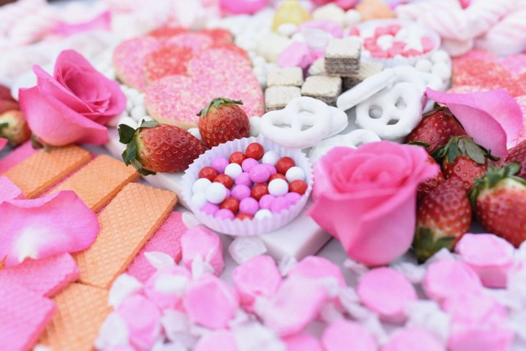 Candy dessert platter for Valentine's Day