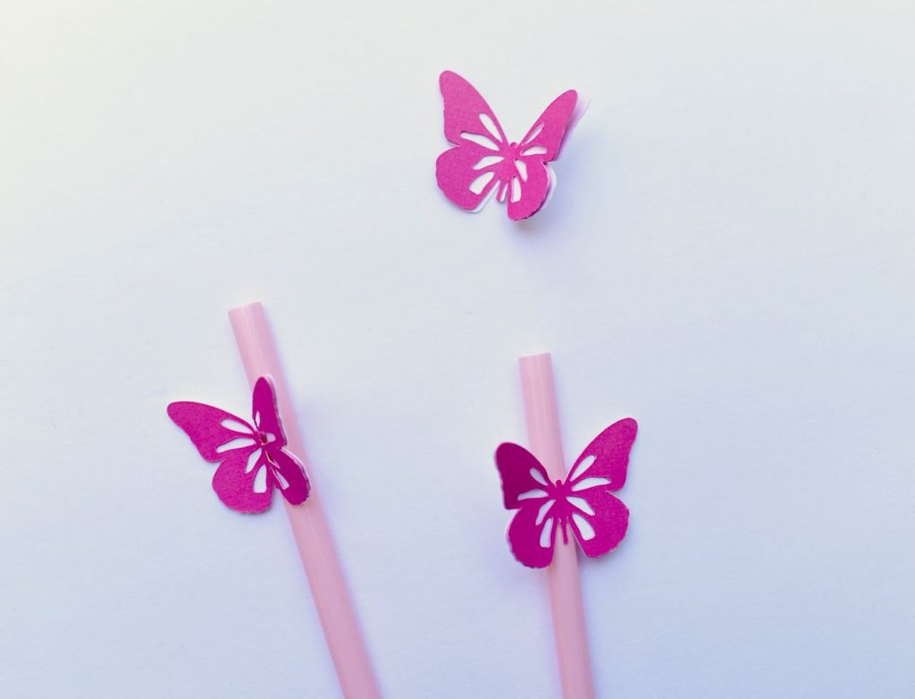 Butterfly straws with Cricut