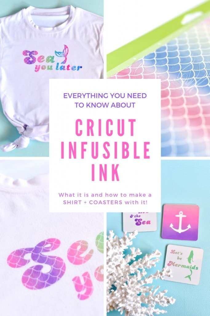 Everything you need to know about Cricut Infusible Ink. Learn what Infusible Ink is, how to use it, and how to make a fadeless t-shirt that won't flake and cool coasters with Infusible Ink!