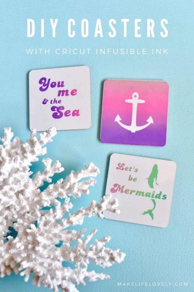 How to make colorful coasters with Cricut Infusible Ink + FREE cut files!