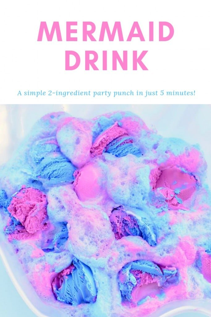 Make a colorful and delicious mermaid drink in under 5 minutes with just two ingredients! Mermaids love this tasty mermaid punch at a mermaid party, under the sea party, or just for fun.