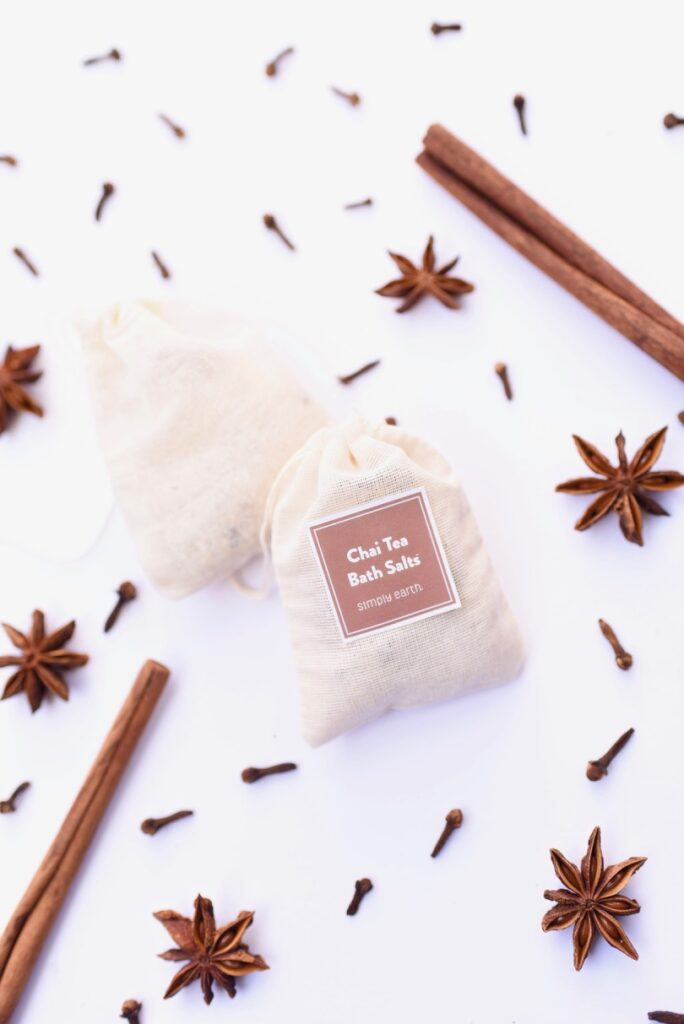 How to make DIY chai tea bath salts in under 3 minutes. You'll love the incredible smell and how relaxing these easy bath salts are. Homemade bath salts make the perfect gift too!