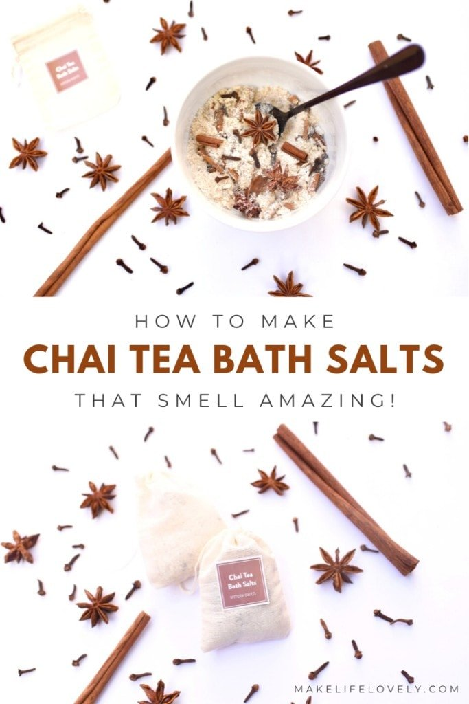 How to make chai tea bath salts that smell amazing! You won't believe how easy it is to make this easy bath salts recipe in just three minutes.