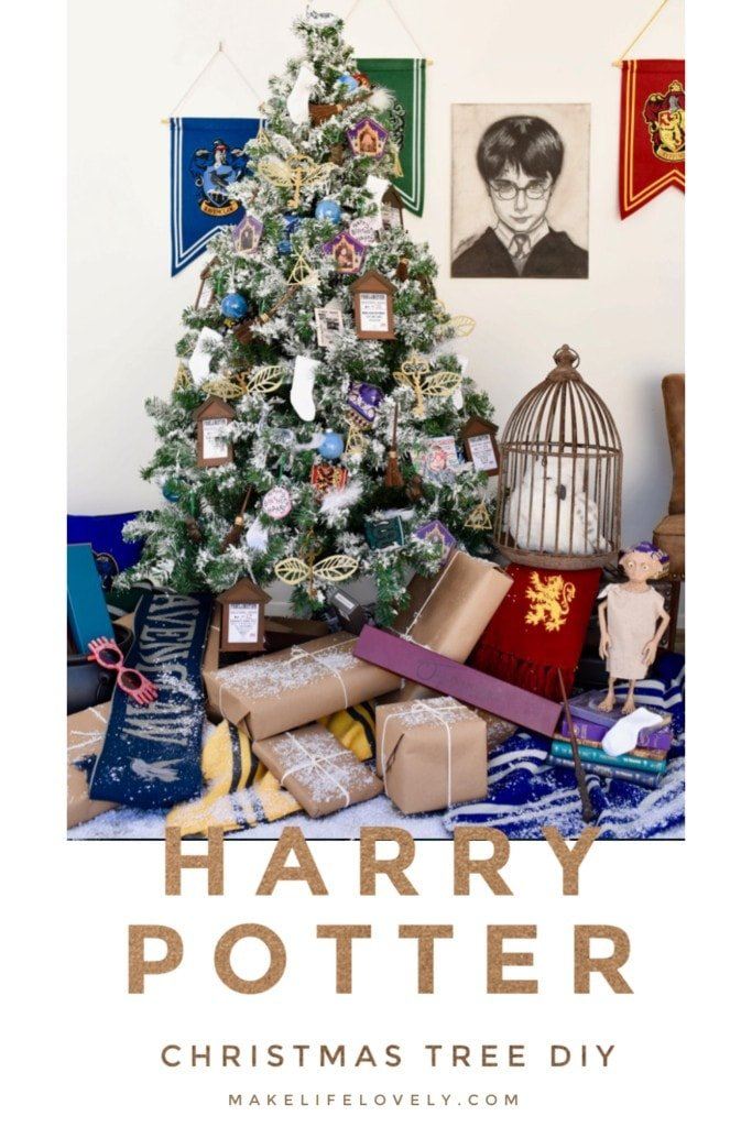 Enchanting Harry Potter Christmas tree with lots of DIY Harry Potter ornaments, decorations, and more! If you love Harry Potter, you've got to check out this Harry Potter Christmas.